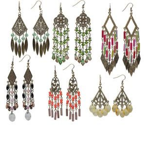 Earring mix, antiqued brass-finished steel and acrylic, mixed colors, mixed size chandelier styles. Sold per pkg of 6 pairs.