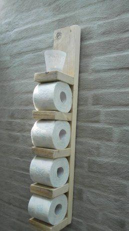 WC-rol houder steigerhout