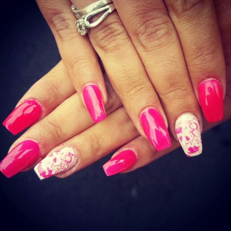 #square #pink #white #stamped #summernails #nails #gelnails #square