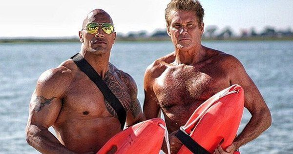 Dwayne Johnson and Zac Efron share new photos from the Baywatch set with the original Mitch Buchannon, David Hasselhoff.