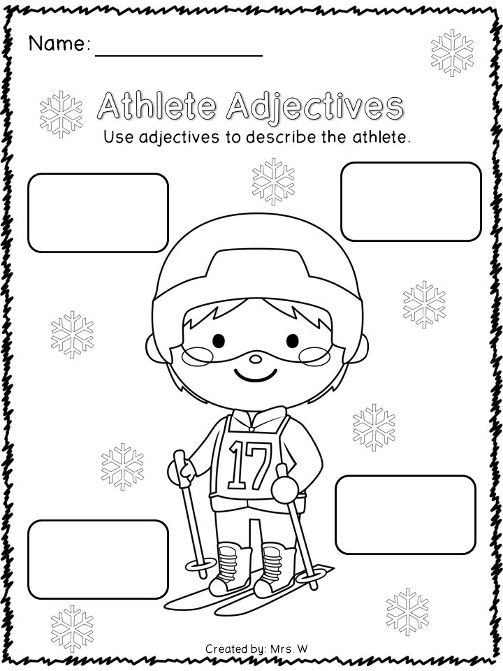 Winter Sports Literacy and Math Printables - Athlete Adjectives