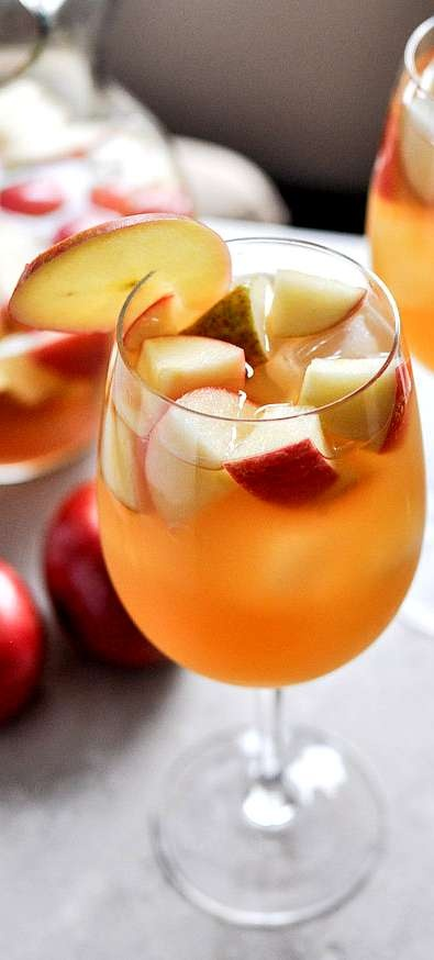 Apple Cider Sangria . . . 1 bottle (standard size) of pinot grigio 2 1/2 cups fresh apple cider 1 cup club soda 1/2 cup ginger brandy 3 honey crisp apples, chopped 3 pears, chopped Directions: Combine all ingredients together and stir, stir, stir. Refrigerate for an hour or so (or longer!) before serving.