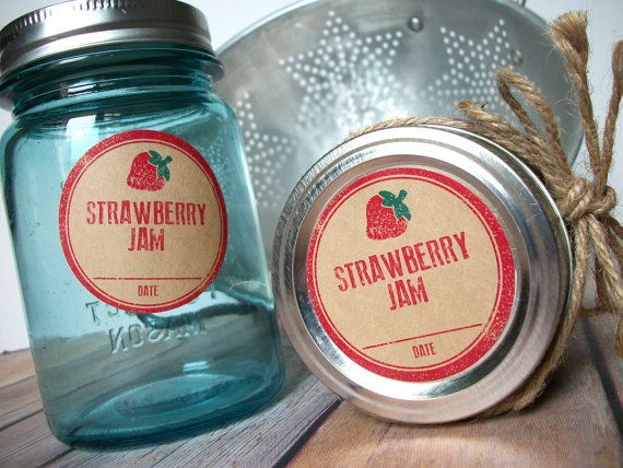 Rubber Stamp Strawberry Jam Kraft Paper Canning Jar labels, 2 inch rustic round red mason jar stickers for fruit preservation, jam jar label, CanningCrafts, Etsy $5