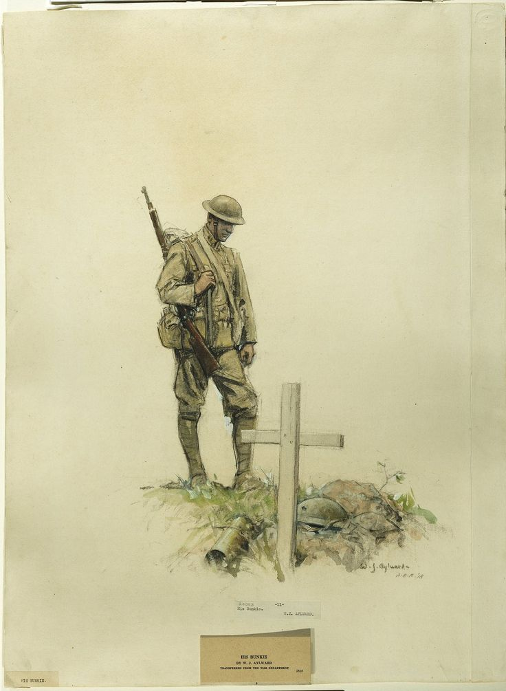 William James Aylward depicted a soldier looking down at the grave of his bunk mate in His Bunkie.. (National Museum of American History).