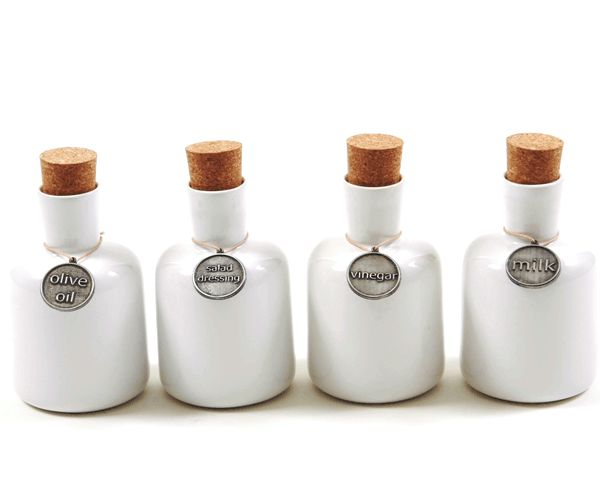 Feast Ceramic Decanters - Olive Oil, Salad Dressing, Vinegar and Milk. #ceramic #decanter #kitchen