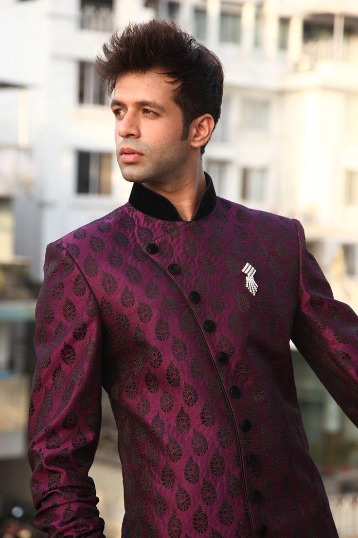 Runako Purple Men Indo Western Sherwani - RK1018_View_1/fashion/ethnic-wear/runako-purple-men-indo-western-sherwani-rk1018
