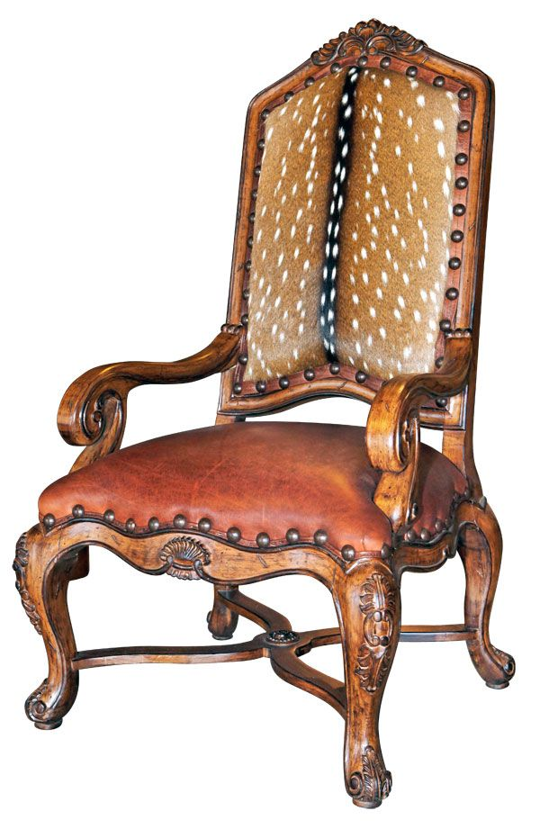 Axis Hide Chair With Detail Wood Carvings On Arms Amp Legs