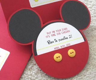 6 invitaciones de cumpleaños de Mickey y Minnie