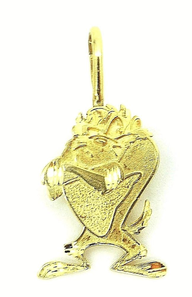 14K Yellow Gold Polished Textured Duck Pendant Solid Pendants /& Charms Jewelry