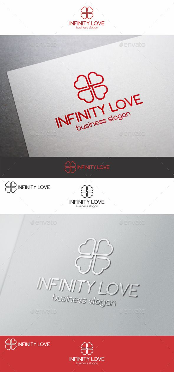 Infinity Love Logo Template – Clover. A cute and loving four leaf clover logo template. Endless Love logo template – is mostly suitable for romantic websites, any candy, souvenir shop or other caring services or business, or anything related to romance. Simple, clean and minimal logo for your company. The logo is vector format so you can re-size without losing the quality.