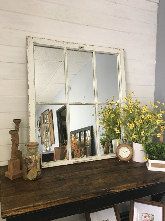 White Mirror, Large Mirror, Window Mirror, Window Pane Mirror, Wall Mirror, Decorative Mirror, Farmhouse, Shabby Chic, Repurposed, Mirror by TheDecorativeCompany. We are the largest manufacturer of aunthentic window mirrors in the USA. buy direct from us and save! www.etsy.com/shop/thedecorativecompany