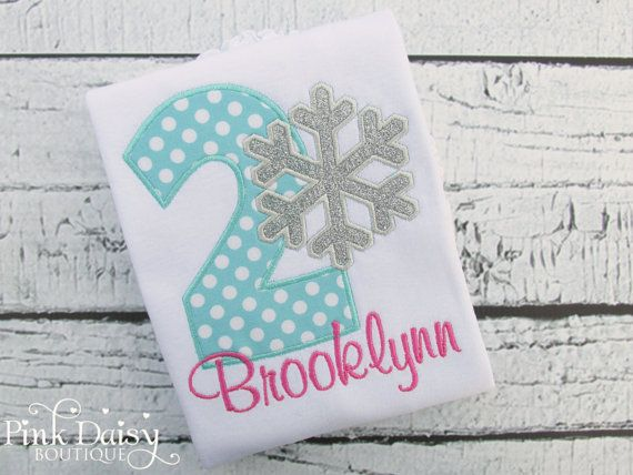 Birthday Shirt. Pink, Aqua, Sparkly Silver Snowflake Birthday Shirt. Polka Dots. Frozen Winter ONEderland Birthday. Winter Wonderland Shirt. *Current Production Time: 2 WEEKS PLUS approx. 3-5 business days for domestic shipping or up to 6 weeks for international shipping* This listing is for an adorable embroidered personalized birthday shirt! Please be sure to leave the name and number needed in the notes to seller section at checkout. Want to change the color scheme? No problem! Just…