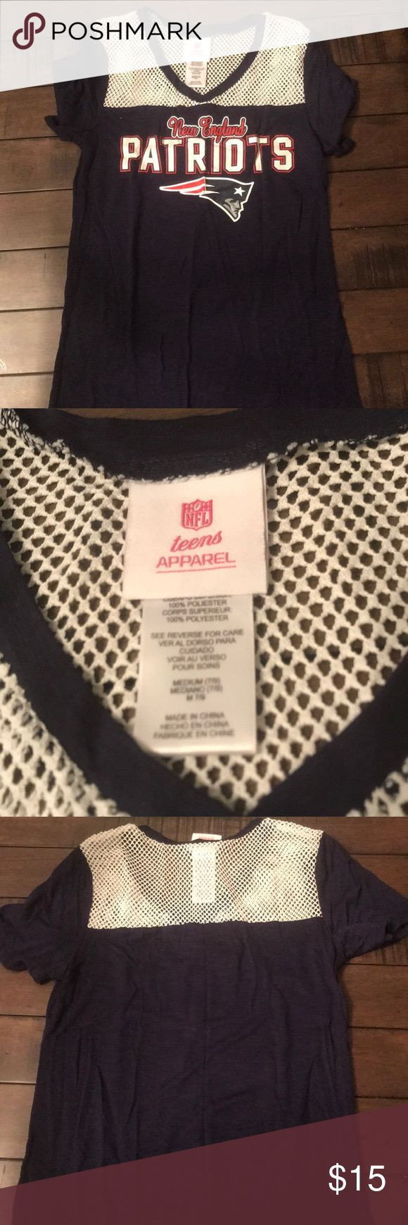 NFL Patriots shirt - worn once! Size Medium (teen) Official NFL apparel brand (teens) - I usually fit in an XS-S adult and this teens medium fit me perfectly for the casual football look I was going for! Worn once, perfect condition! The pats won that day so who knows, it could be good luck :) NFL Apparel Tops Tees - Short Sleeve