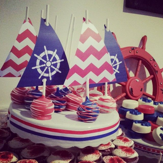 Cool cake pops at a Nautical birthday party!  See more party ideas at CatchMyParty.com!