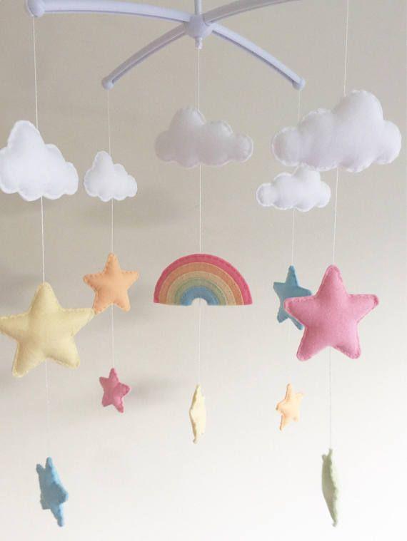 Wolken Sterne Kinderbett Mobile Babymobile Filz Cloud Kindergarten