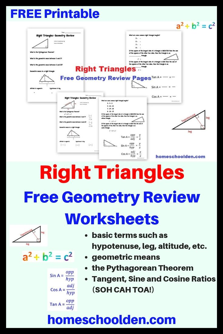 Free Right Triangle Review Worksheets Geometry Worksheets Right Triangle Education Math