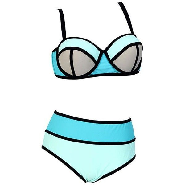 Women's Plus Colorful High Waisted Diving Suit Neoprene Push up Bikini... ($34) ❤ liked on Polyvore featuring swimwear, bikinis, swimsuits two piece, neoprene bikini swimsuit, plus size high waisted bathing suits, push up bikini et push up bikini swimsuit