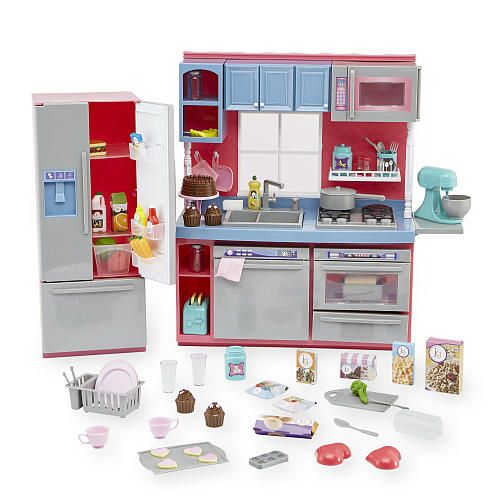 With sturdy construction and many functional details, the Journey Girls Gourmet Kitchen Set is a dream come true for your doll. A pretend stove, oven, sink, dishwasher, and fridge will have aspiring chefs whipping up culinary masterpieces in no time!<br><br>The Journey Girls Gourmet Kitchen Set Features:<br><ul><li>Includes over 100 pieces of food, appliances, cookware, utensils and accessories</li><br><li>Realistic full kitchen has everyth...