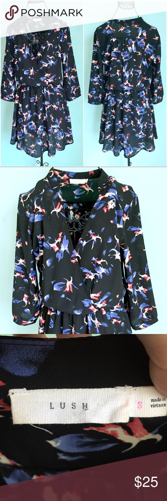 Black Floral Dress with Sleeves Up for sale preowned Little Black Floral Dress, in good condition. Check out my closet, bundle and give me your offer! Lush Dresses Mini