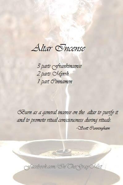 https://www.facebook.com/InTheGrayMist - Altar incense recipe - Cunningham