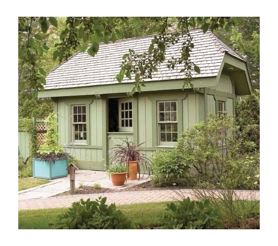 "Cute garden shed! I can see this becoming a great workshed -- add a double door, build it a little wider, and build it on a concrete pad dug down a few feet so we can build it taller -- yay for storage in the ""attic""."
