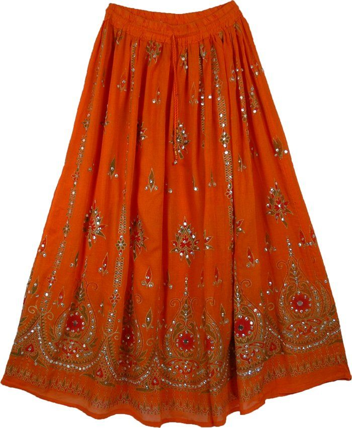Ethnic Orange Sequined Indian Skirt - Sequin-Skirts - Sale on bags ...