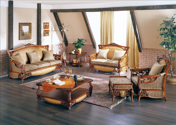 А дома должна быть хорошая мебель. Вот такая например гостинная может быть в загородном доме