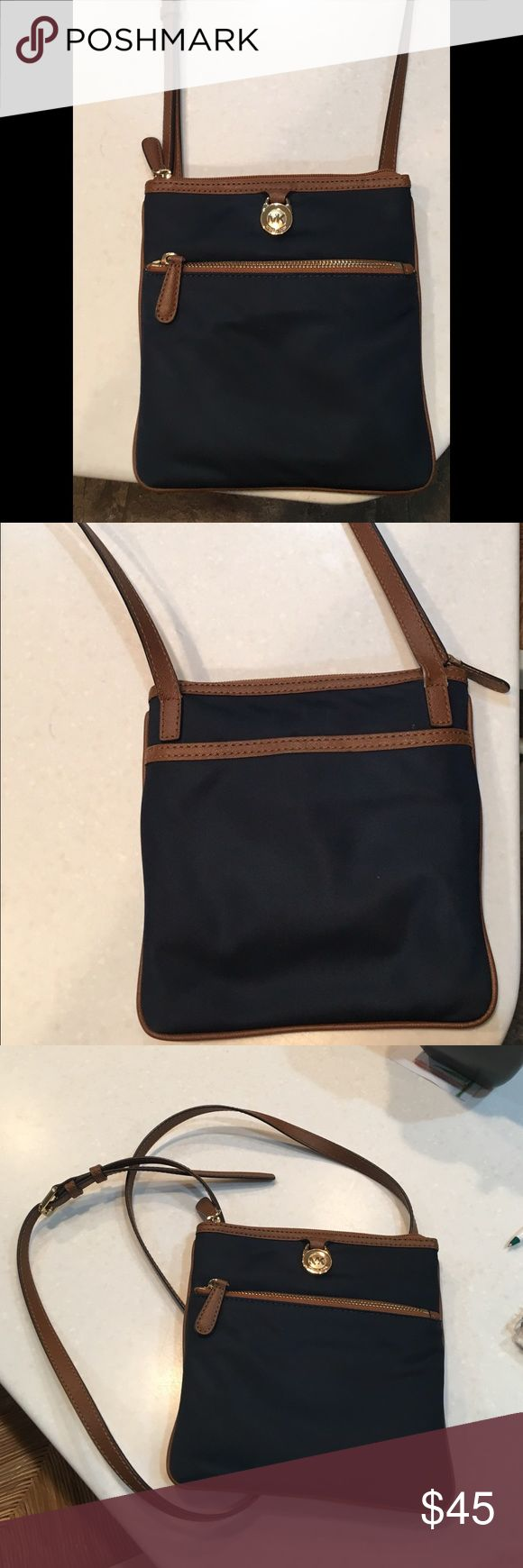 Michael Kors Kempton Large Crossbody Bag Navy with Gold& Brown Accents, Great Quality MICHAEL Michael Kors Bags Crossbody Bags