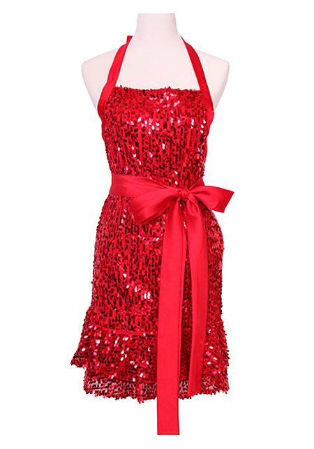 "Look haute and glamourous while cooking or hosting a party in the red sequin ""Glamour Girl"" signature apron!"