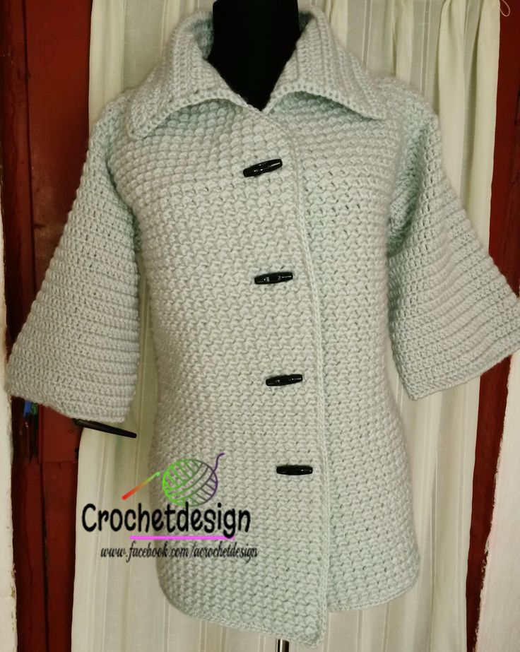 Crocheted spring coat, 3/4 sleeves