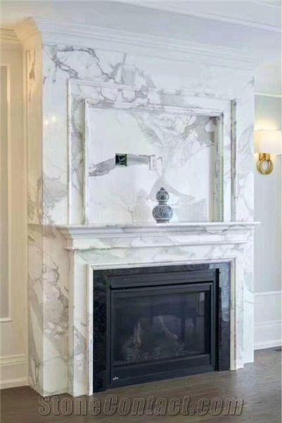 Modern Handcarved Marble Fireplace Calacatta Vagli…