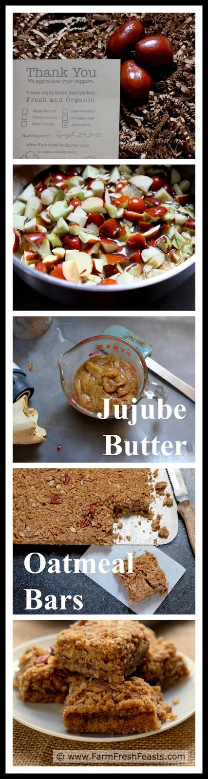 Jujube Butter Oatmeal Bars--jujube fruit simmered with apple cider into a fruit butter, sandwiched between layers of oatmeal pecan cookie bars.