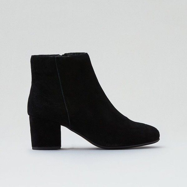 Steve Madden Holster Bootie ($100) ❤ liked on Polyvore featuring shoes, boots, ankle booties, ankle boots, black, black suede booties, black boots, black suede bootie, black suede boots and short black boots