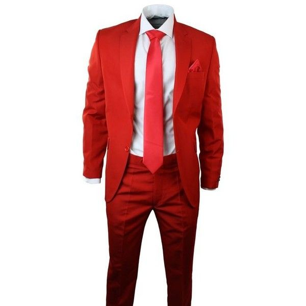 Mens Red Suit Blazer Trouser Tie Waistcoat Hankie Party Wedding Prom... ($140) ❤ liked on Polyvore featuring men's fashion, men's clothing, mens ties, mens wedding ties, mens apparel and mens red tie