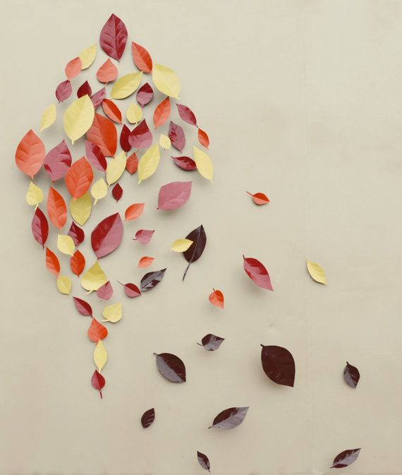 Falling Leaves Wall Decor : Fall home decor autumn leaf wall art d by