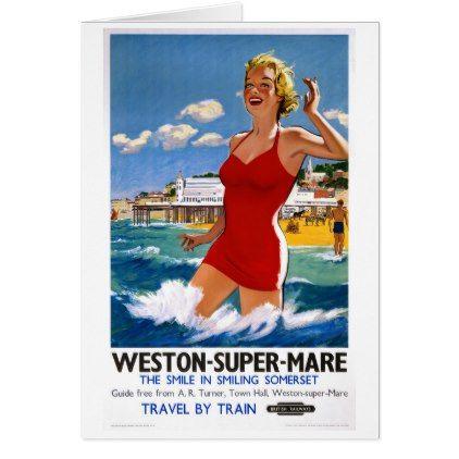 England Weston Super Mare Vintage Travel Poster Card - vintage gifts retro ideas cyo