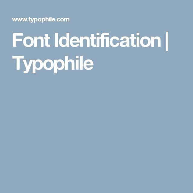 Font Identification | Typophile