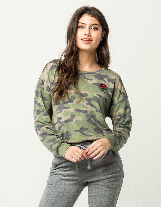 WHITE FAWN Rose Patch Womens Camo Sweatshirt