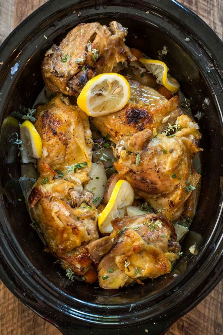 This Crock Pot Lemon Garlic Chicken and Vegetables is a one pot meal you can throw together in 20 minutes then forget about until dinner!
