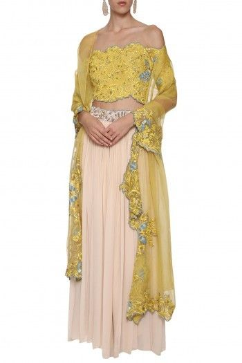 e3be89d51afbd5 POULI Featuring a yellow off shoulder crop top in silk georgette base with  hand embroidery all