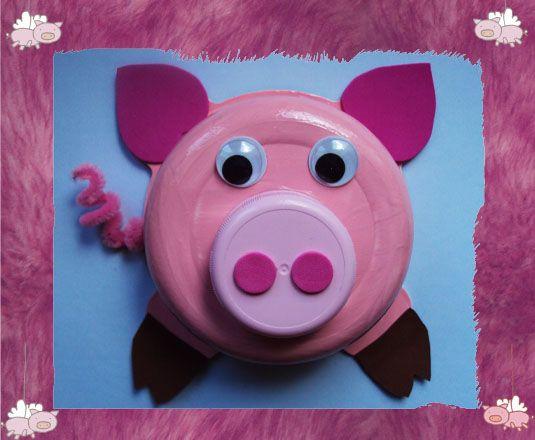 cochon réalisé avec un plat de blédic**f / Bricolage / activités manuelles / Assistante maternelle
