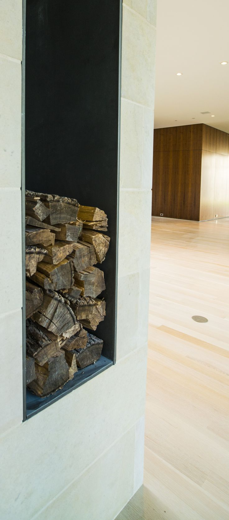 Modern fireplace and fire logs, steel details