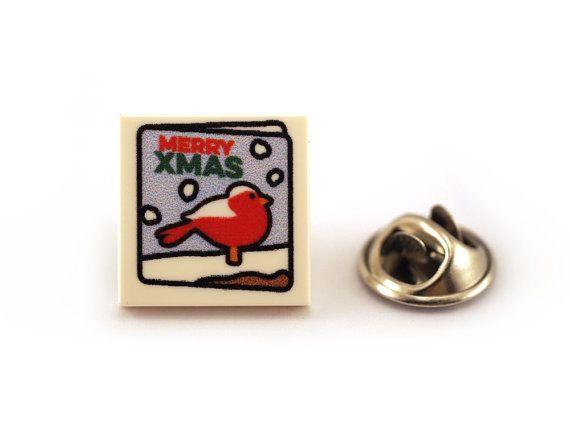 Merry Xmas Tie Pin. Christmas card Red Robin Tie Tack by Pinhero