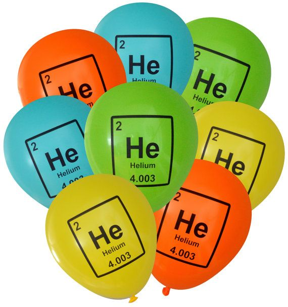 Add some science-themed nerdiness to your party decorations! These helium periodic table element balloons are sure to be a hit with the science