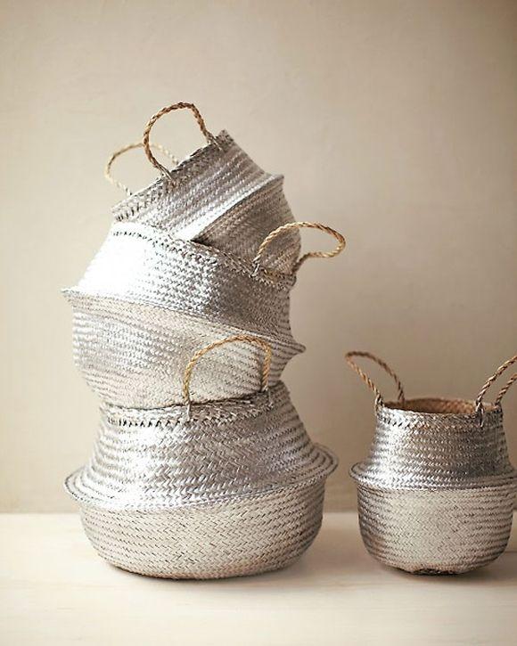Martha Stewart DIY painted baskets: Woven Baskets, Wicker Baskets, Paintings Baskets, Old Baskets, Metals Baskets, Martha Stewart, Silver Baskets, Sprays Paintings, Straws Baskets
