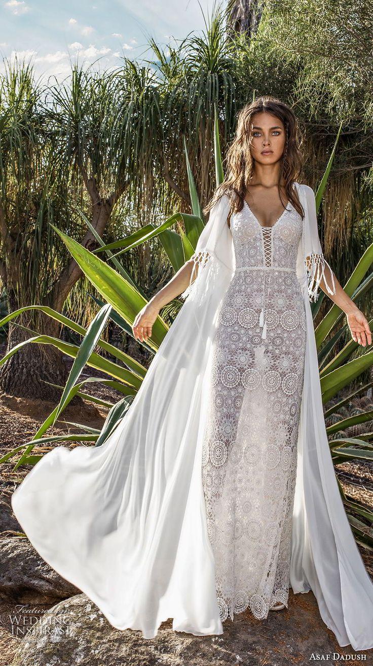 asaf dadush 2018 bridal thin strap deep sweetheart neckline full embellishment elegant sheath wedding dress jacket low open back sweep train (5) mv