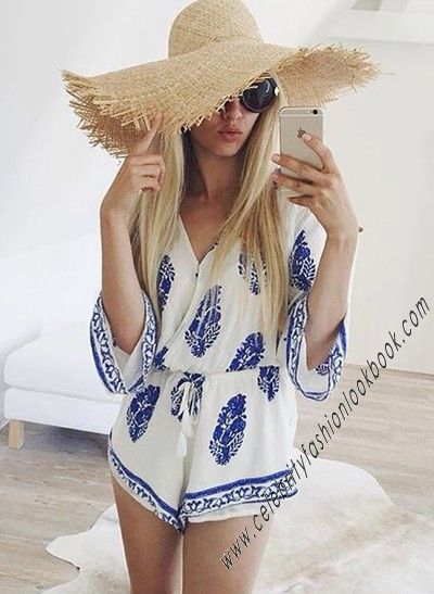 Hang out in this #fashionable Plunging Surplice #Romper http://celebrityfashionlookbook.com/js30-trumpet-sleeve-surplice-romper.html #teens #fashion #fashionista #trendy