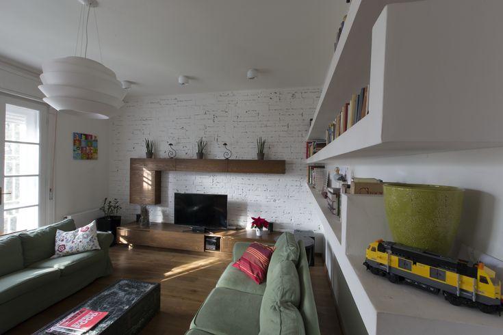 plasterboard shelving, modern interior,  living-room , custome made furniture