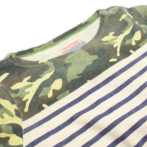 DENIM DUNGAREE(デニム&ダンガリー):テンジク カモフラボーダープリント 9分袖Tシャツ 9KHカーキ の通販【ブランド子供服のミリバール】