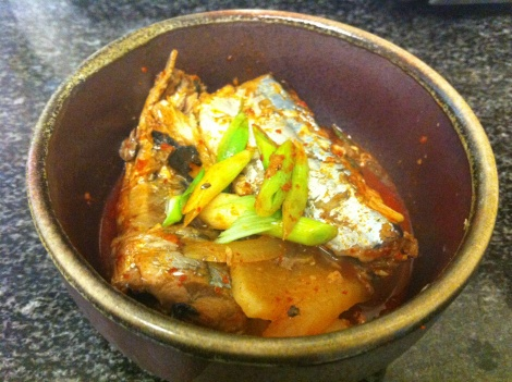 Korean spicy mackerel... Out of a can? I have to try this!